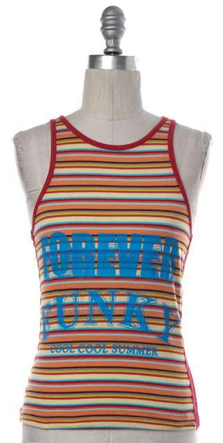 D&G Orange Striped Forever Funky Graphic Racerback Top