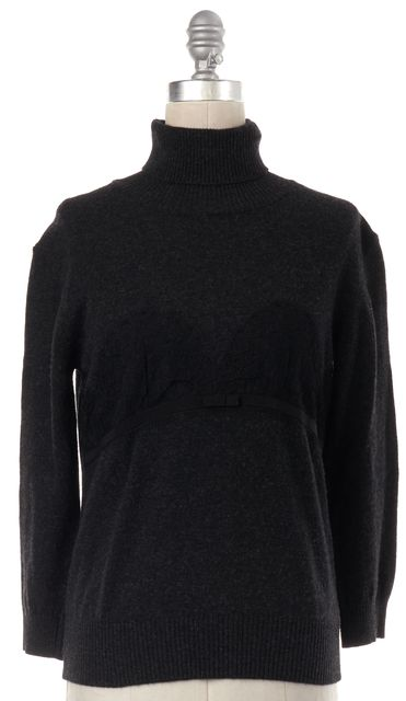 D&G Gray Turtle Neck Lace Trim Wool Knit Top