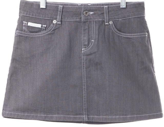 D&G Gray Mini Skirt White Stitching