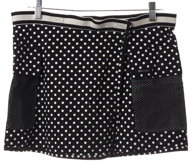 D&G Black Polka Dot Cargo Pocket Beach Wear Skirt