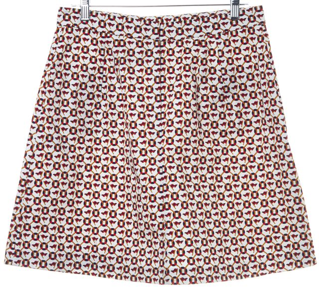 D&G Ivory Navy Red Nautical Print Casual A-Line Two Pocket Skirt