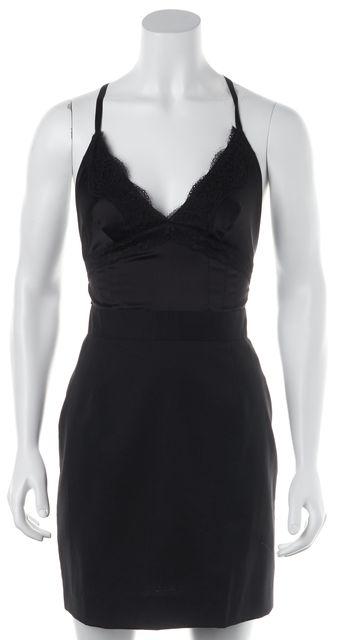 D&G Black Wool Lace Trim Sheath Dress