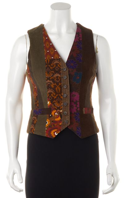 D&G Brown Multi Floral Printed Cotton Corduroy Sleeveless Vest