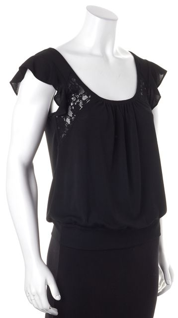 D&G Black Lace Ruffle Cap Sleeve Scoop Neck Top