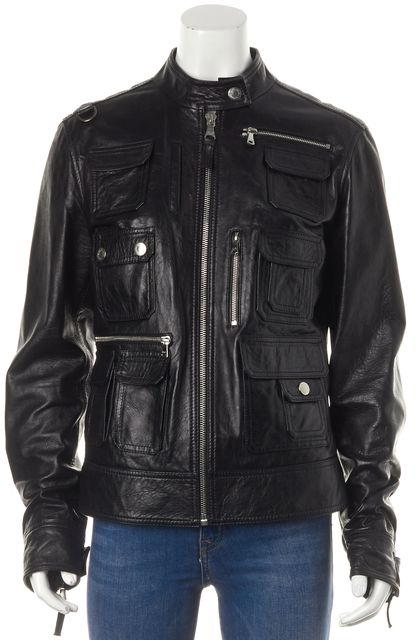 D&G Black Leather Motorcycle Patch Pocket Front Jacket