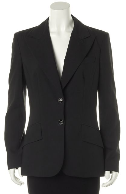 D&G Black Two Button Classic Career Workwear Blazer