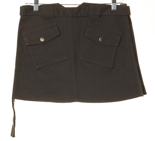D&G Gray Cotton Pocket Front Button Detail Mini Straight Skirt