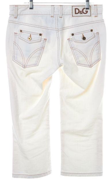 D&G White Capri 5 Pocket Straight Legged Cotton Jeans