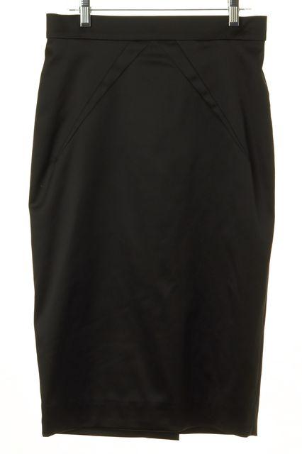 D&G Black Satin Knee-Length Pencil Skirt