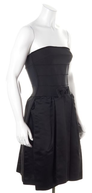 D&G Black Pleated Bow Corset Dress