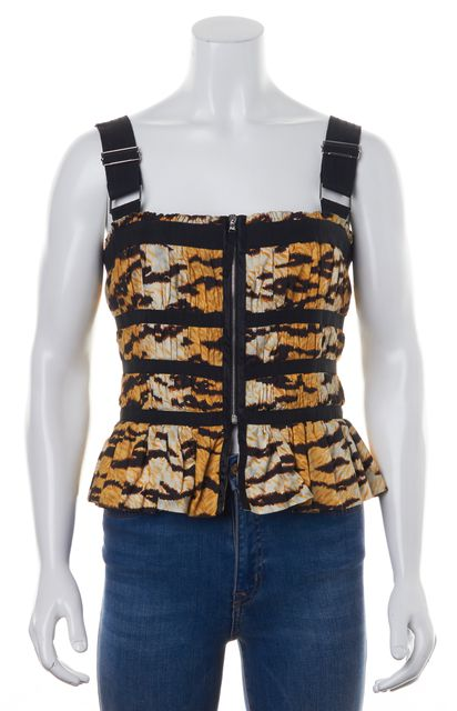 D&G Beige Black Animal Printed Zip Up Ruched Corset Style Tank Top