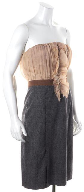 D&G Gray Beige Colorblock Silk Strapless Ruffled Sheath Dress