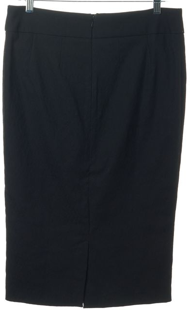 D&G Black Leather Trim Knee-Length Straight Skirt