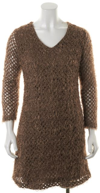 D&G Brown Textured Frayed Cotton Semi Sheer Long Sleeves Shift Mini Dress