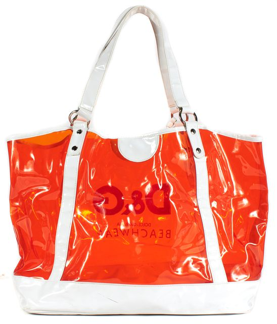 D&G White Orange Clear PVC Beach Tote Bag