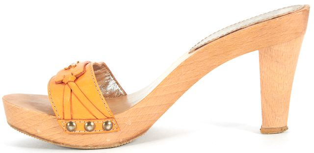 D&G Orange Leather Wooden Heel Slip-On Sandal