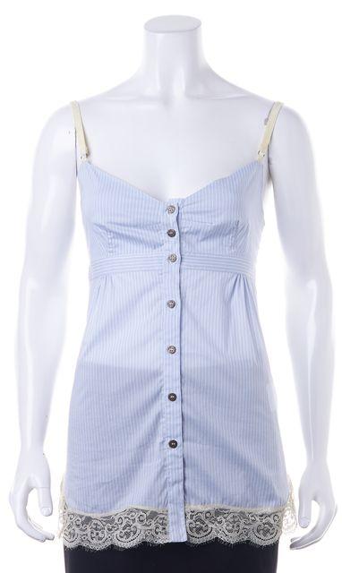 D&G Blue White Striped Lace Trim Spaghetti Strap Button Down Shirt Top