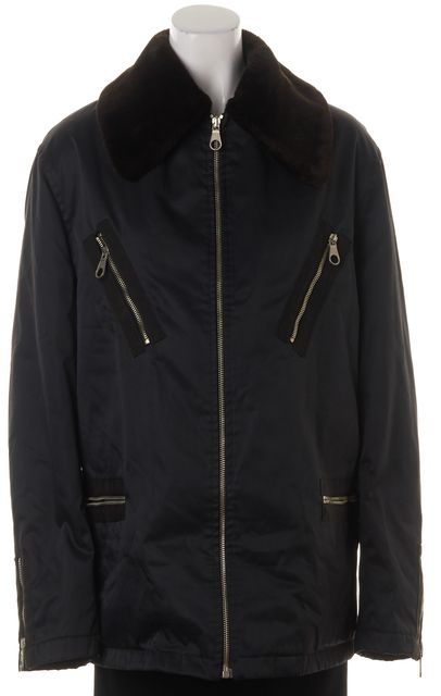 D&G Navy Blue Fur Collar Quilted Lining Winter Coat Jacket