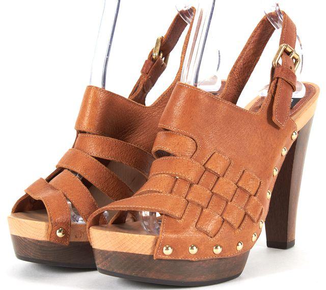 D&G Deep Tan Gold Stud Leather Wooden Platform Sandal Heels