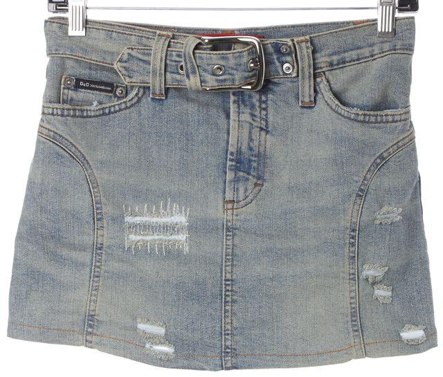 D&G Blue Distressed Light Wash Denim Belted Mini Skirt