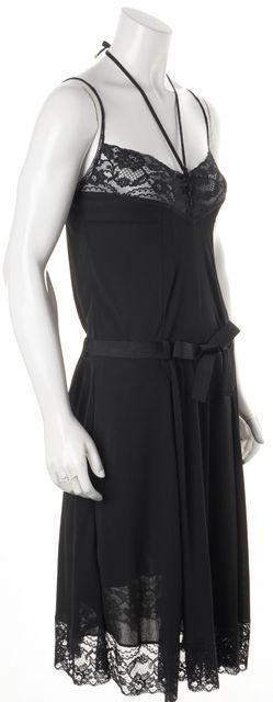 D&G Black Lace Ruffle Hem Fit & Flare Dress