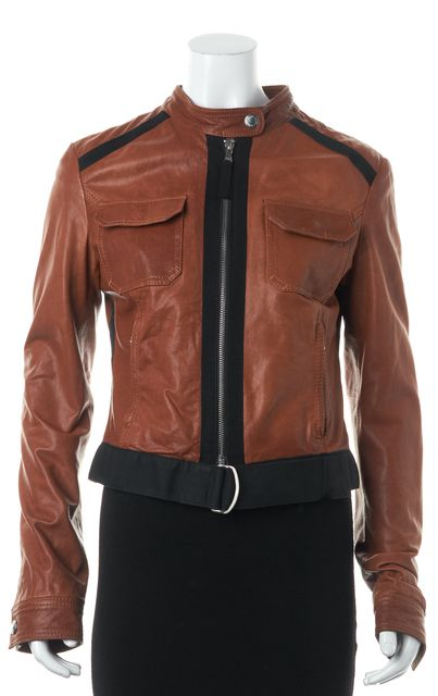 D&G Brown Lamb Leather Collarless Motorcycle Jacket