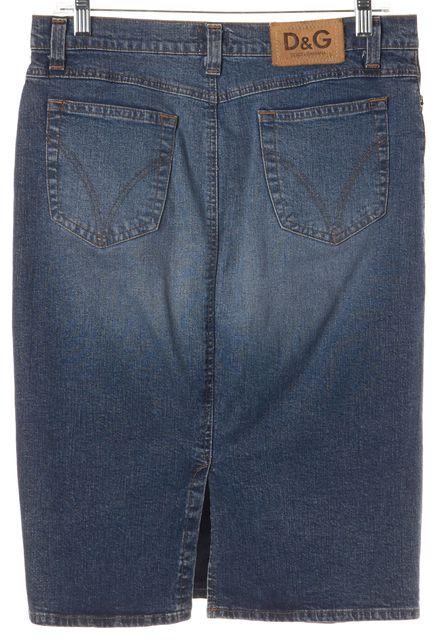 D&G Blue Denim Back Slit Pencil Skirt