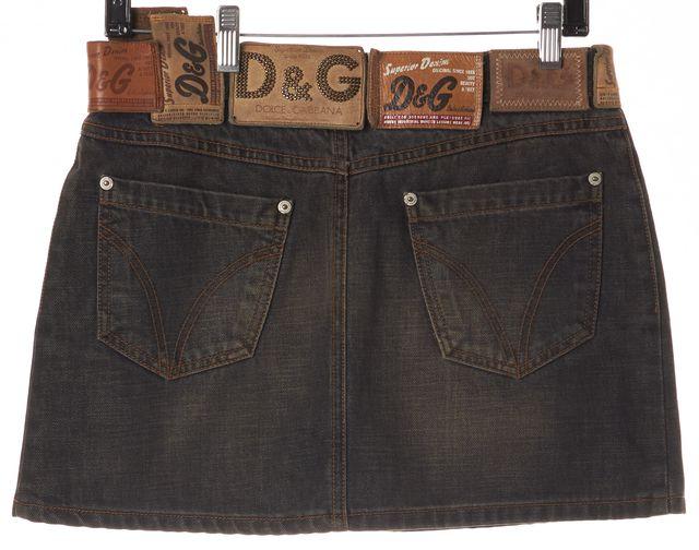 D&G Washed Black Cotton Pocket Front Denim A-Line Skirt