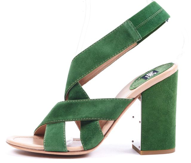 D&G Green Suede Leather Block Heeled Sandals
