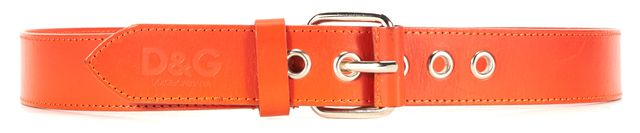 D&G Orange Leather Silver Buckle Belt