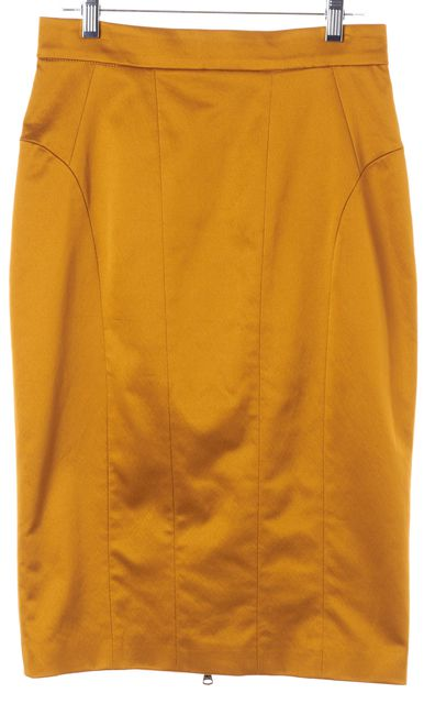 D&G Goldenrod Yellow Knee-Length Exposed Back Zip Pencil Skirt
