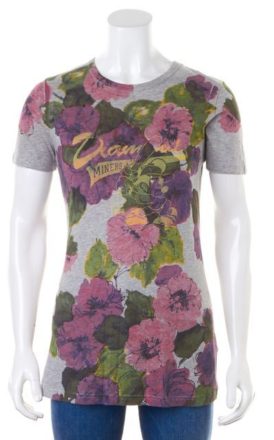 D&G Gray Purple Floral Mickey Mouse Baseball Print T-Shirt
