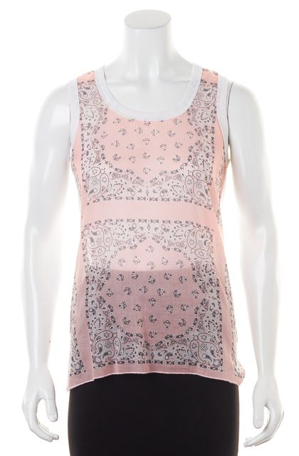 D&G Pink White Paisley Printed Scarf Front Sleeveless Tank Top