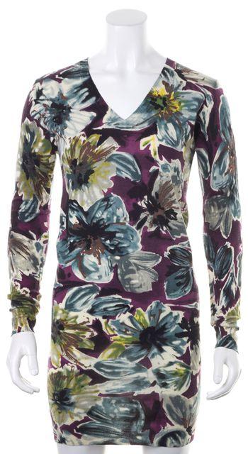 D&G Purple Blue Floral Printed Wool Knit Bodycon Sheath Dress
