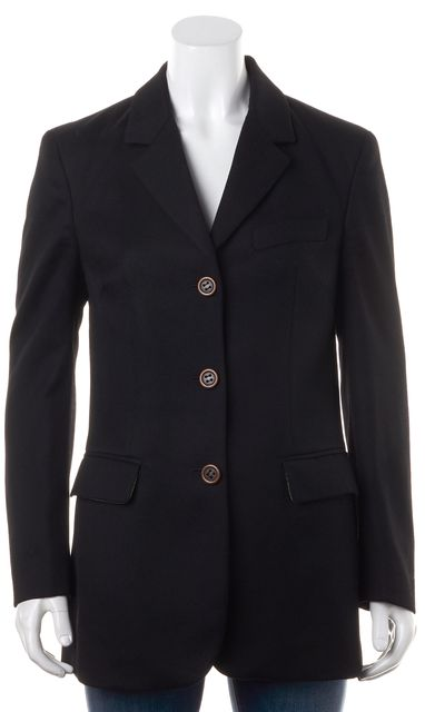 D&G Solid Black Wool Double Pocket Three Button Blazer