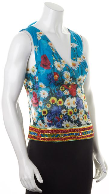 D&G Blue Daisy Graphic Print Sequin Embellished Halter Top