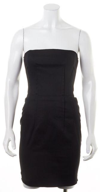 D&G Black Strapless Corset Zip Up Pencil Dress