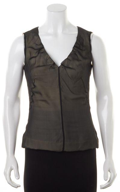 D&G Black Ivory Silk Lined Zip Back Sleeveless Blouse