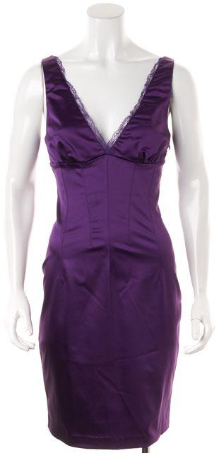 D&G Purple Lace Trim Sleeveless Corset Dress
