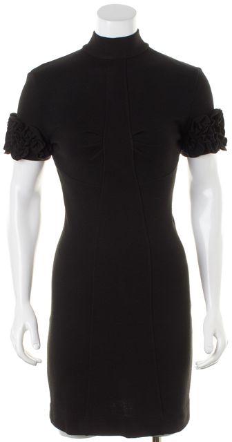 D&G Black Ruffle Sleeve Turtleneck Sweater Dress