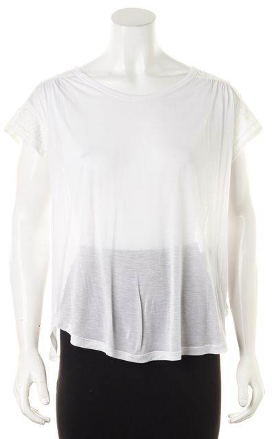 D&G White Semi Sheer Floral Embroidered Short Sleeve Blouse