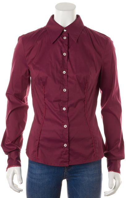 D&G Maroon Red Long Cuff Sleeve Button Down Blouse