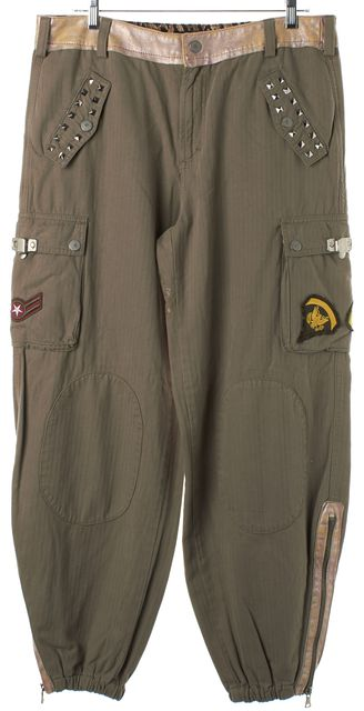 D&G Green Pink Army Patch Stud Embellished Jogger Pants