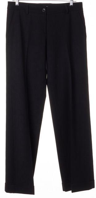 D&G Black Wool Cuffed Trouser Dress Pants