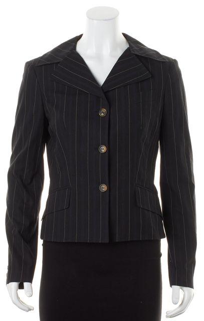 D&G Black Pinstriped Cotton Three-Button Blazer Jacket