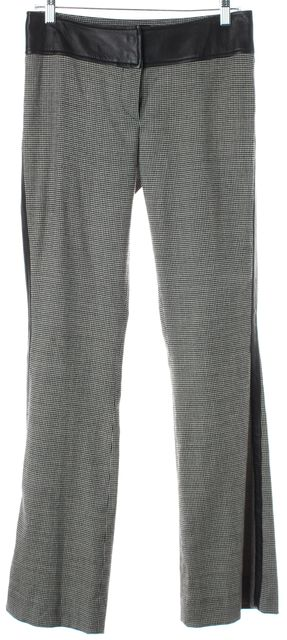 D&G Black White Houndstooth Wool Leather Trim Trouser Dress Pants