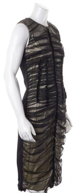 D&G Black Ivory Mesh Lace Overlay Sleeveless Sheath Dress