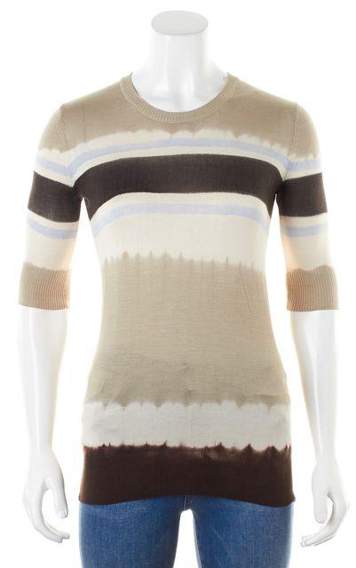 D&G Beige White Brown Tie Dye Striped Silk Thin Knit Crewneck Sweater
