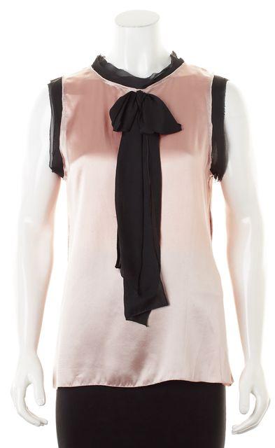 D&G Pink Black Satin Silk Sleeveless Ribbon Neck Blouse