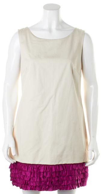 D&G Ivory Magenta Ruffle Colorblock Silk Shift Dress